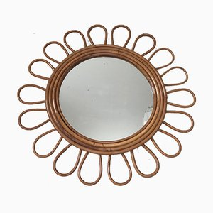 Französischer Mid-Century Spiegel aus Rattan, 1960er