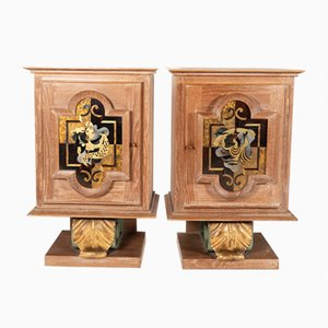 Limed Oak Bedside Cabinets, 1940s, Set of 2
