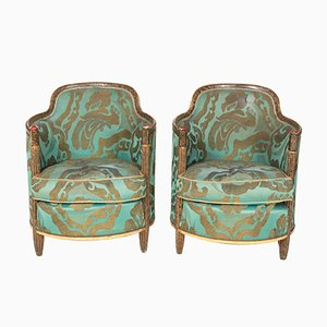 Green Bergere Lounge Chairs, 1920s, Set of 2