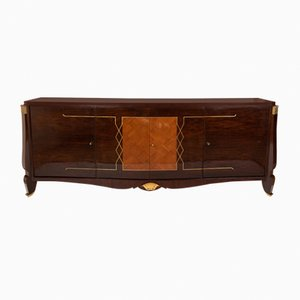 Marquetery Sideboard with Golden Highlights, 1940s