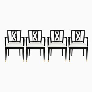 Chaises de Salon Noires et Blanches de De Coene, 1940s, Set de 4