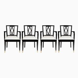 Sillas de comedor en blanco y negro de De Coene, años 40. Juego de 4