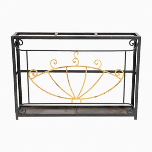 Black & Gold Wrought Iron Umbrella Stand, 1920s
