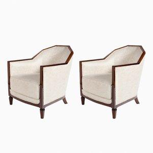 Bergère Stühle aus weißem Stoff & Mahagoni, 1930er, 2er Set