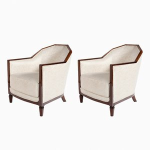 White Fabric & Mahogany Bergere Chairs, 1930s, Set of 2