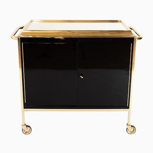 Black & Gold Bar Cart by Jacques Adnet, 1930s