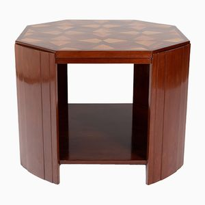 Octagonal Mahogany Coffee Table with Fruitwood Inlays, 1930s