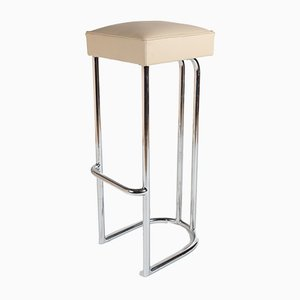 White Leather & Chrome Barstool, 1970s
