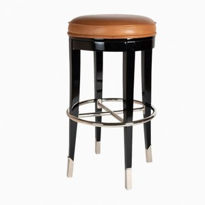Brown Leather, Black Wood & Chrome Barstool, 1930s