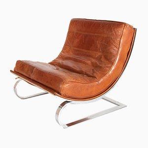 Sillones Cantilever de cuero marrón y metal cromado, años 60. Juego de 2