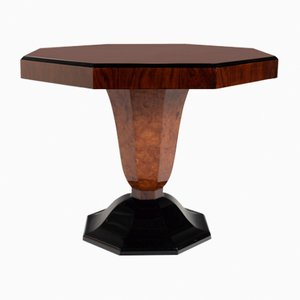 Tavolino ottagonale in olmo, anni '30