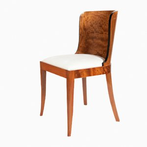 Burl Mahogany & White Fabric Dining Chairs, 1930s, Set of 4