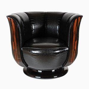 Sessel aus schwarzem Kunstleder & Makassar-Ebenholz, 1930er, 2er Set