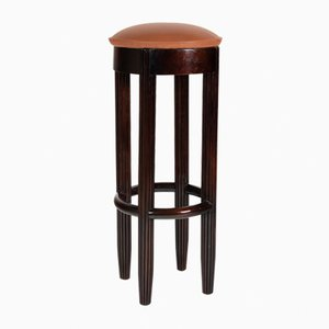 Brown Leather & Mahogany Barstool, 1930s
