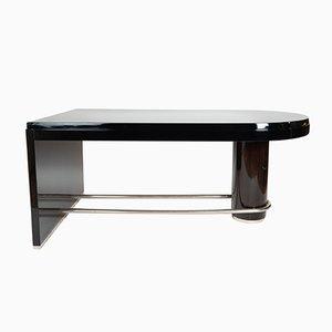 Großer Schreibtisch aus dunkebraunem Makassar-Ebenholz & Chrom, 1930er