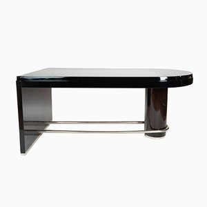 Large Dark Brown Macassar & Chromed Desk, 1930s