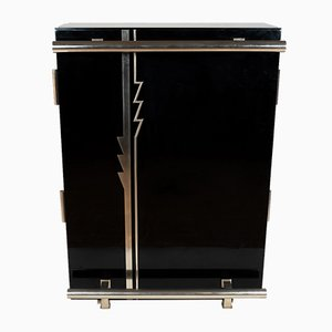 Black & Chromed Bar Cabinet, 1930s