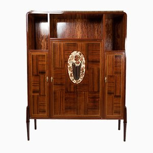 Rio Rosewood Cabinet with Fruitwood & Bakelite Inlays, 1920s