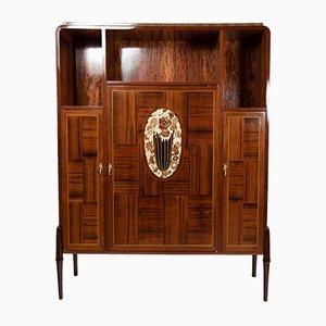 Mobiletto in palissandro brasiliano con intarsi in legno dolce e bachelite, anni '20