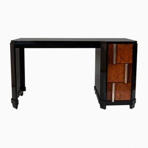 Black Wood, Burl & Metal Desk, 1930s