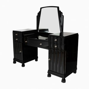 Black Dressing Table with Bevelled Mirror, 1930s