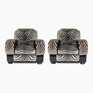 Lounge Chairs with Zebra Print Fabric, 1930s, Set of 2