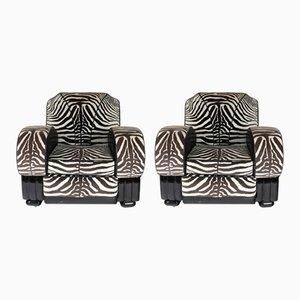 Poltrone con tessuto zebrato, anni '30, set di 2