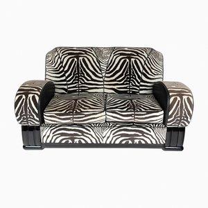 Sofa mit Stoff in Zebramuster, 1930er