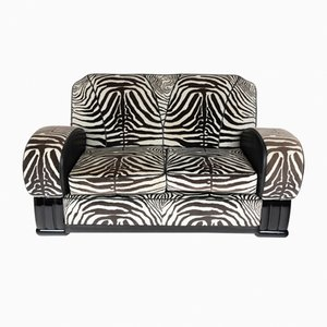 Sofa with Zebra Print Fabric, 1930s