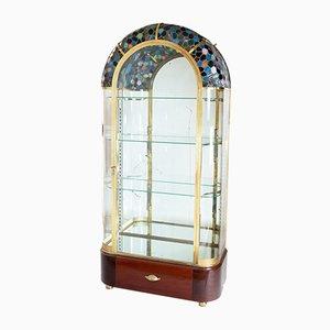 Vetrina specchiata con ripiano in vetro multicolore, anni '20