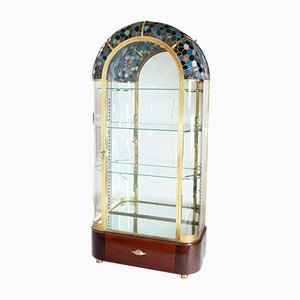 Vitrina con espejo y superficie de vidrio multicolor, años 20