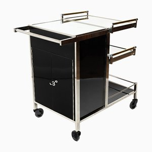 Black & Mirrored Bar Cart by Jacques Adnet, 1930s