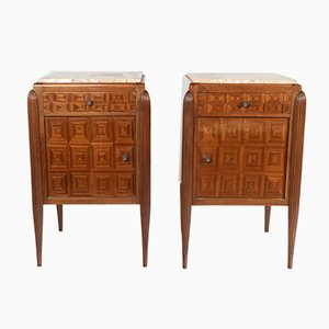 Mahogany & Marble Nightstands, 1920s, Set of 2