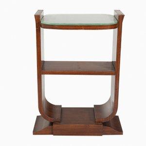Mesa auxiliar de caoba y vidrio, años 30