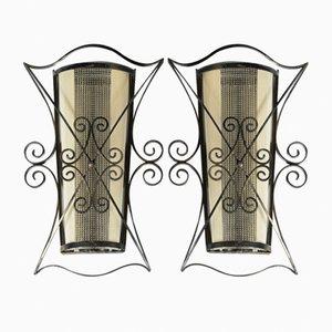 Wandlampen aus Schmiedeeisen & Glas, 1940er, 2er Set