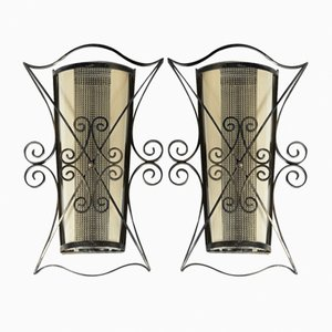 Wrought Iron & Glass Sconces, 1940s, Set of 2