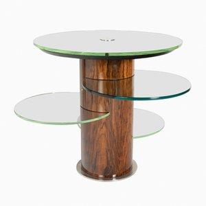 Mesa auxiliar de madera con bandejas de vidrio de Jacques Adnet, años 30