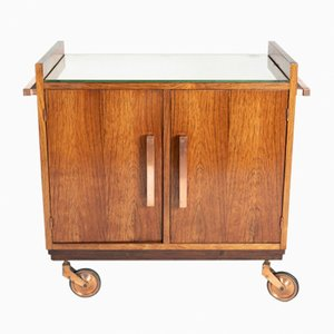 Rio Rosewood & Copper Bar Cart with Mirror Top, 1930s