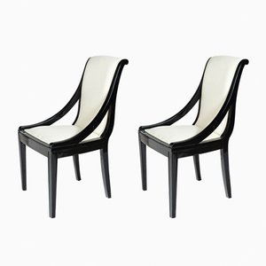 Black & White Armchairs, 1930s, Set of 2