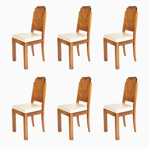 Walnut & Amboyna Dining Chairs with White Leather Cushions, 1930s, Set of 6