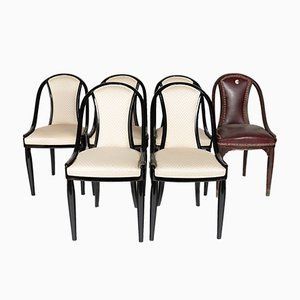 Black & White Armchairs from Thonet, 1930s, Set of 6