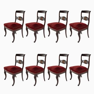 Chaises de Salon Royal Red, 1880s, Set de 8
