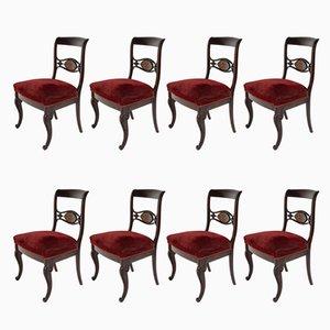 Sillas de comedor Royal en rojo, década de 1880. Juego de 8