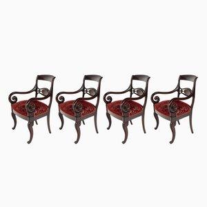 Butacas Royal en rojo, década de 1880. Juego de 4