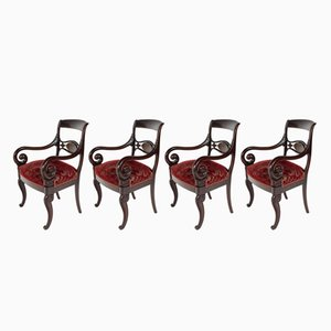 Poltrone Royal rosse, fine XIX secolo, set di 4