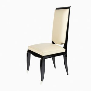 Black & White Highback Dining Chairs with Metal, 1930s, Set of 6