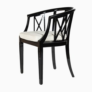 Black & White Armchairs from Wiener Werkstätten, 1950s, Set of 6