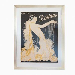 Poster Doriane con cornice in legno argentato di Kaplan Paris, anni '30