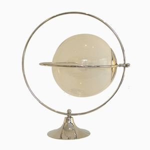 Italian Chrome Plating and Murano Glass Table Lamp, 1970s