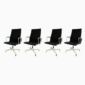 Minimalist Aluminum & Textile Armchairs by Charles & Ray Eames for Vitra, 1987, Set of 4